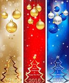 Skyscraper Christmas & New Year banner set in three colors.