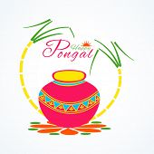 picture of rangoli  - Traditional pot with sugarcane on elegant floral design  - JPG