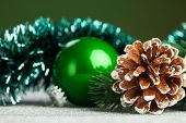 Christmas ball with fir-tree and pinecone