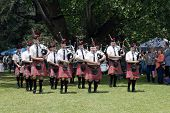 Colorful Traditional Scottish Caledonian Pipe Band Performing