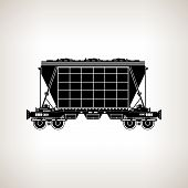 Silhouette Hopper Car On A Light Background, Vector Illustration