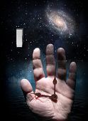 Hand And Switch With Starry Background