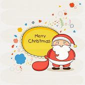 Cute Santa Claus holding gift sack with wishing text in frame on stylish background for Merry Christmas celebrations.