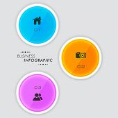 Colorful business infographic stickers with 2.0 web icons on grey background.