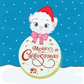 Cute cat in Santa cap and bow with stylish wishing text on blue background for Merry Christmas celebrations.