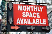Monthly Space Available Parking Lot Sign