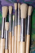 Close Up Of Paint Brushes On Oil Paints