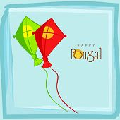 Happy Pongal, South Indian harvesting festival celebrations with colorful kites on sky blue background.