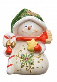 Cheerful snowman isolated on white background