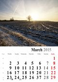 Calendar 2015 March. Nature Image Selection. Europe. International Format