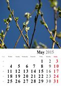 Calendar 2015 May. Nature Image Selection. Europe. International Format