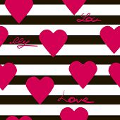Seamless Geometric Pattern With Hearts Vector Texture Background Text