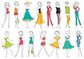 Women In Modern Fashion Clothes Isolated On White.vector Illustration