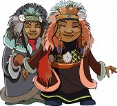 Cartoon Man With A Woman Of The Far North In The National Fur Clothes.eps