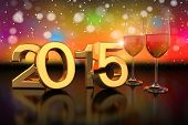 picture of champagne color  - 3D rendering of two champagner glasses and the numbers of the new year 2015 on glass table with a colorful bokeh background - JPG