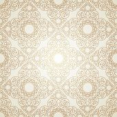 Vector seamless gold and white pattern in Victorian style.