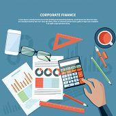 Corporate finance, business management concept