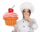 Amazed Woman Pastry Chef Holding Huge Cupcake