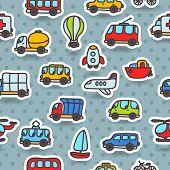 cartoon hand drawn transport seamless pattern