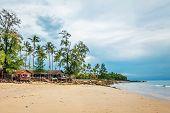 tropical beach under gloomy sky. Thailand