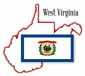 pic of virginia  - West Virginia Outline Map over a white background with flag inset - JPG