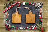 Christmas Sweets And Tree Toys With Two Blank Wooden Plaques