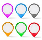 Set Of Multi-colored The Map Markers