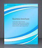Layout Business Brochure. Blue Abstract Layout Template With Lines