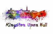Kingston Upon Hull Skyline In Watercolor