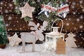 Winter Scene With Wooden Reindeer And Lantern For Christmas