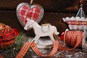 Vintage Christmas Decoration On Wooden Background