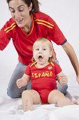 Celebrating Baby Spanish Soccer Fan
