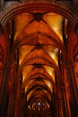 Inside of the gothic cathedral in Barcelona