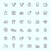 Shopping icons, simple and thin line design