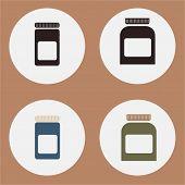 Set of flat medicine bottles, vintage colors, vector illustration. Mockup icons.