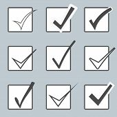 Vector confirm icons set. Yes icon. Check Mark icon.  Checkboxes.