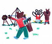 Teddy bears practice archery