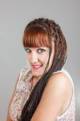 Smiling Pretty Girl Or Woman With Extended Braids Hair