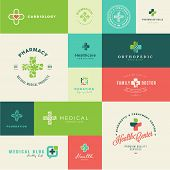 Set of modern flat design medical and healthcare icons