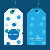 Vector connected dots vertical round frame pattern tags set