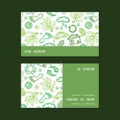 Vector ecology symbols horizontal stripe frame pattern business cards set