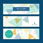 Vector abstract fabric triangles horizontal banners set pattern background