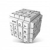 Random keyboard keys forming a cube