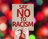 Say No To Racism card with colorful background with defocused lights
