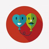 Valentine's Day Ballons Flat Icon With Long Shadow,eps10