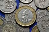 Coins of Morocco. King Hassan II of Morocco depicted in the Moroccan dirham coins.