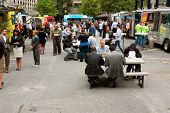 People Eat Lunch At Busy Atlanta Food Truck Park