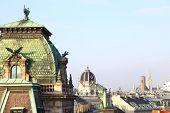 Vienna rooftops cityscape with blue sky and copy-space