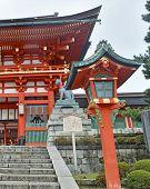Richly colored Fushimi Inari Taisha Shrine, located in Kyoto, Japan