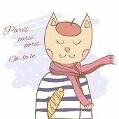 French parisian cat hand drawn illustration